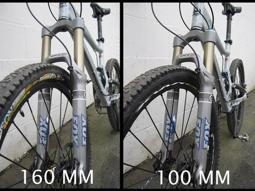 TALAS fork in the 160mm and 100mm settings.