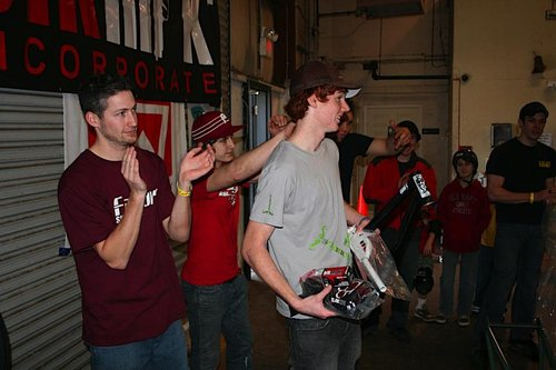 Chris walking away with the Riot Build Kit