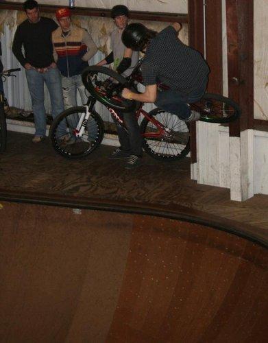 Justin sticking the tire tap on pillar