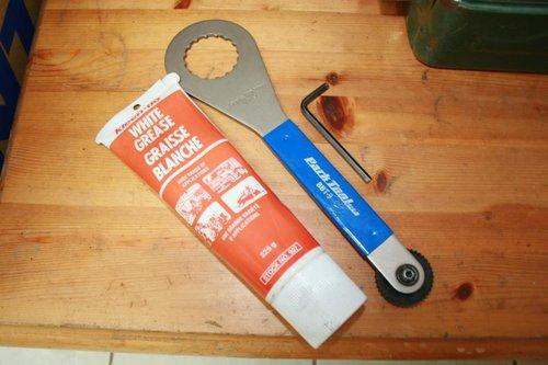 White Grease, Bottom Bracket Installer, and 4mm Allen Key