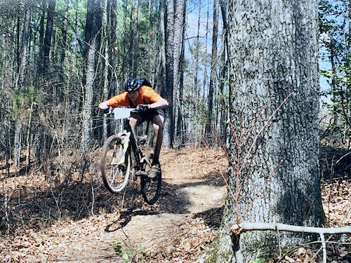 XC racing age 15 in 1996 on a Trek Y5-0. Full seatpost extension.