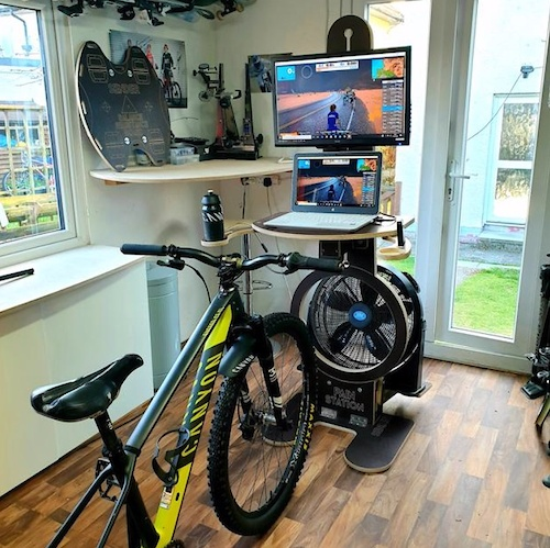 Can take 40 Inch Screen Large Fan Hole with Optional Fan Shelf Two Swing Arms with features Water Bottle Mobile Fan Remote holder Towel holder Height Adjustable Laptop Shelf Tablet Slot with Cable Holes in Shelf Easy Wire Feed Holes in Column and Shelf Screw Points in Base to secure to floor Large Monitor mounting block - Easily Adjust screen height Folds for Easy Storage and Transportation