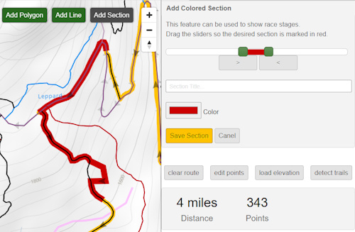 add colored route sections