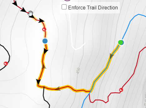 Disable auto-routing enforcement of trail direction to route any direction you want.
