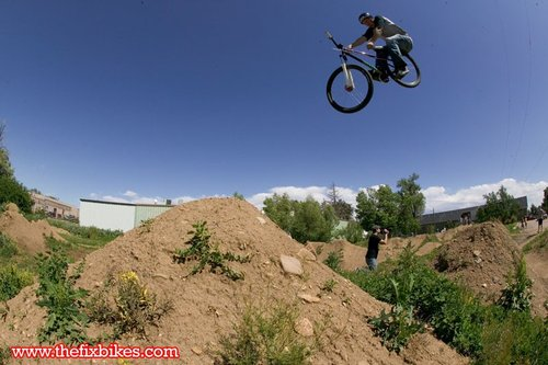A Fort Collins local blasts his stock Specialized P1 into a mean toboggan on
