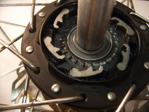 From the inside out: Aluminum axle, inner bearing, clutch plate (you can see the pickup points) and pawls