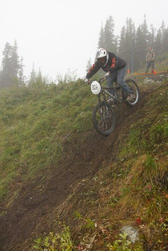 Dropping into the greasy steeps.