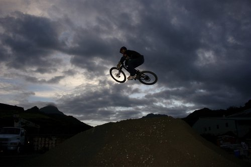 Vish jumping the new booter right before dark.
