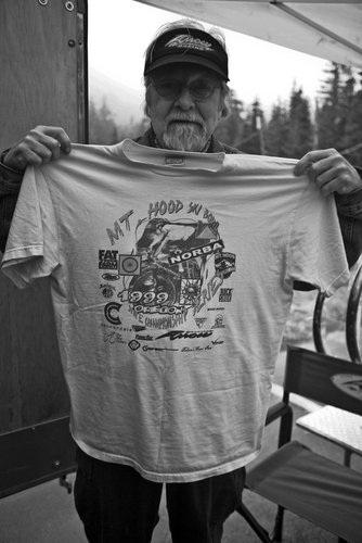 Gus with vintage 1999 Ski Bowl Tshirt from the NORBA Championships.