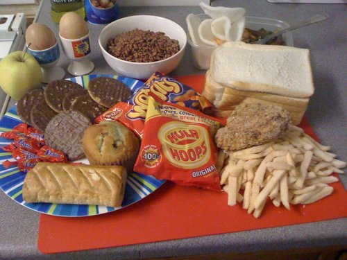 Bowl of Coco pops, Chicken & chips, 10 Biscuits, 2 x bags of Crisps, Chocolate 2 x eggs, 6 Slices of Bread with various fillings, Apple, Sausage Roll, a Chinese Meal and a little Cake! Lets also not forget the fizzy pop I get through too!