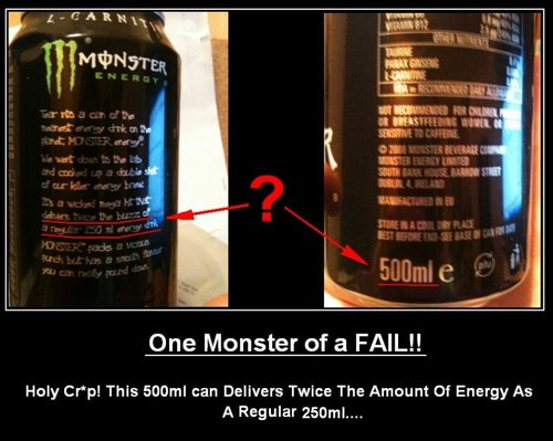 They Could Mean per 250ml serving but it dosnt say that + its been printed on a 500ml can???
