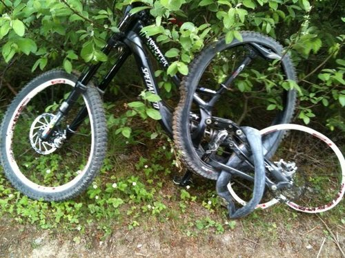 Sam Hill took a case in practice in 2010 near the Deer Gate and this is what remained of his bike. The prescription was 2 new wheels and a fork lower swap too.