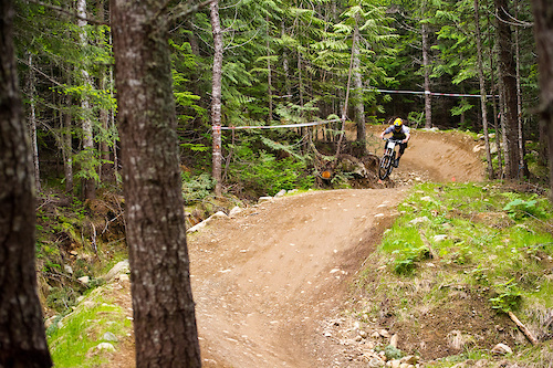 Chris Kovarik keeping it as low as possible mid track. At this point even a pro racer is feeling the burn.