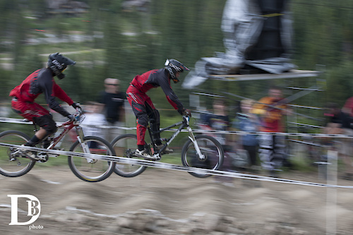 Brian and Michael Buell racing head to head during the 2011 Crankworx CO dual slalom race where Brian took second to Brian Lopes.