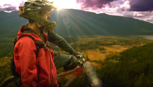 Still photo from the filming of Pedal-Driven In the Leavenworth area, on the east side of the Cascade Mountains