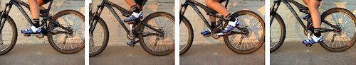 Ride around for a bit and then stop at the 12 3 6 and 9-o clock posiitions of the crank rotation. Check each position for side to side play in the cleat. If your shoe is binding to one side make a note if it s to the right or left at each stop.