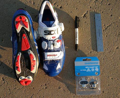 What You ll need SPD compatible cycling shoes a sharpie marking pen a ruler or accurate measuring device and a set of cleats we are using Shimano but the same method works for all types.