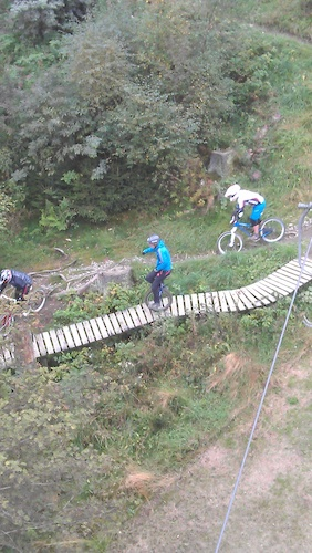 Unicyclist hitting the trails at winterberg.