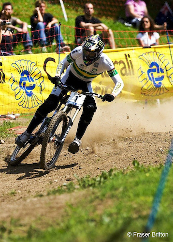 Sam Hill slides through the last corner in seeding.