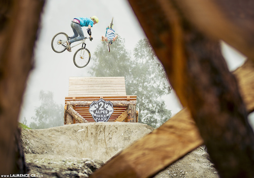 A sneaky shot here from Crankworx L2A 2012 that slipped the net first time round. Genon and Pilgrim getting it done whilst the mountain fog surrounded us - Laurence CE - www.laurence-ce.com