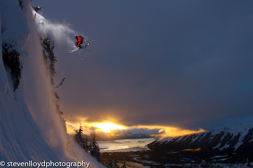 Sam Cohen sending it over an Alaska sunset