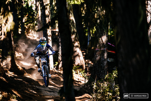 Emmeline Ragot sneaks her way through the top root-infested section of the course to a first place finish for the pro woman's catagory.