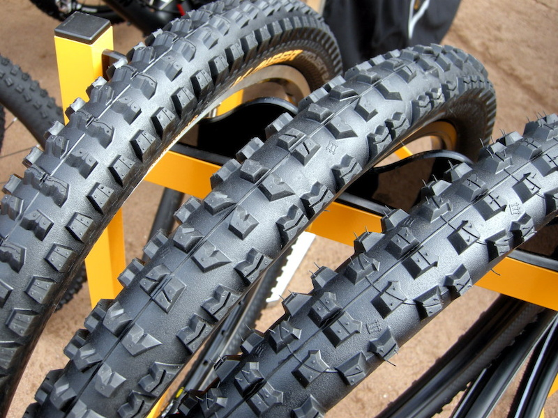Three massively capable tires from Continental Der Kaiser 2.5-inch and Der Kaiser Projekt 2.4 inch DH tires and the er Baron mud spike are poven World Cup performers.
