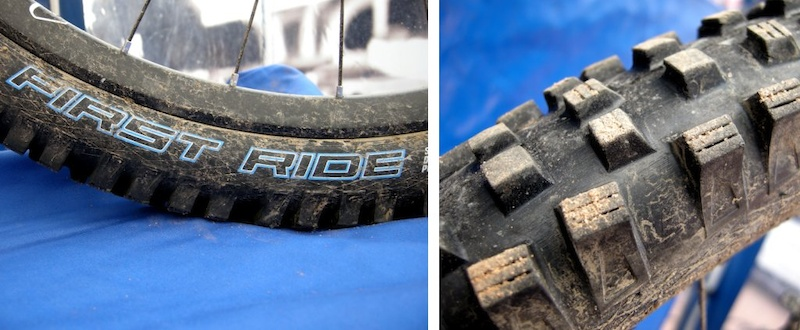 Schwalbe s First Ride tire program is only available to members of its hand-picked prototype testing group. All tires in the program have blue stripes or graphics.