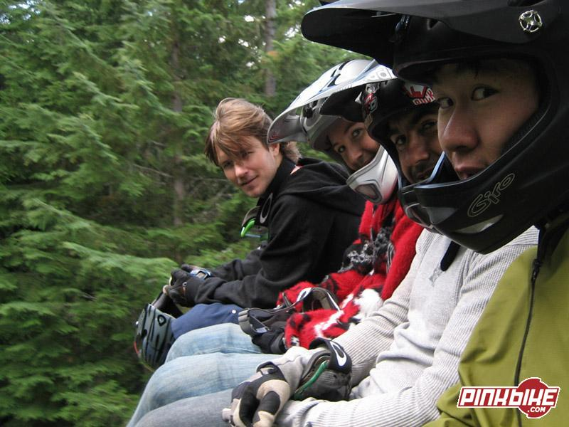 Harookz, Reuben, Darcy and Shaun headed up for some A-line laps.