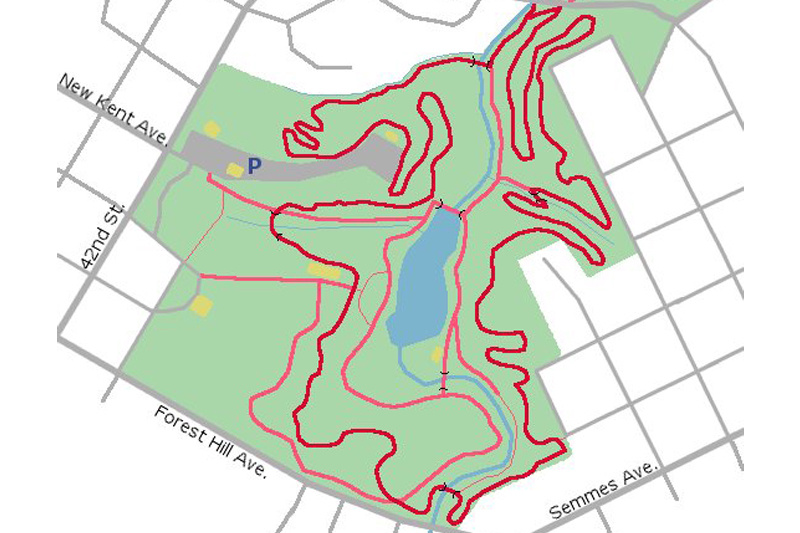 Trail map of the 2.9 mile Forest Hill Park loop.