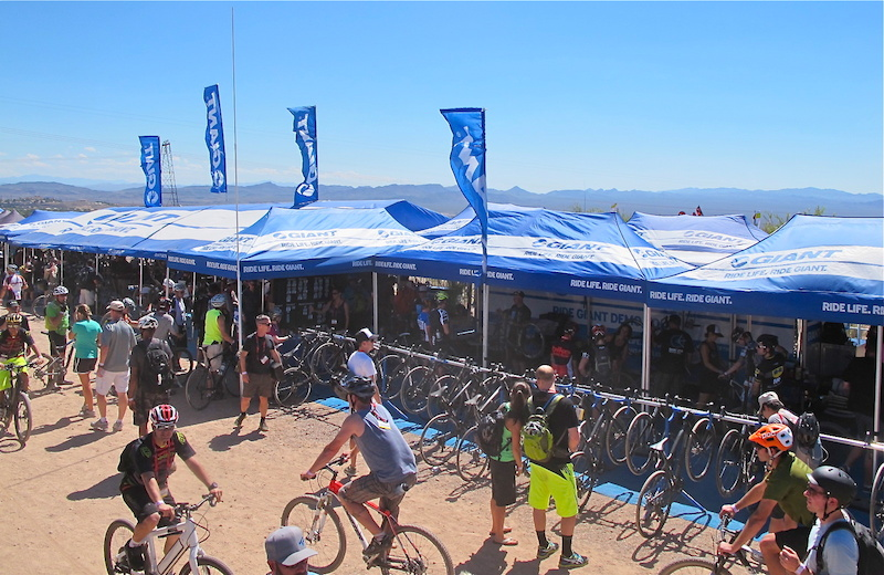 It s safe to say that Giant has the largest fleet of demo bikes on hand during Outdoor Demo and folks were always lined up at the big blue tents. Current feedback suggests that the Trance X 27.5 is going to be a hit.