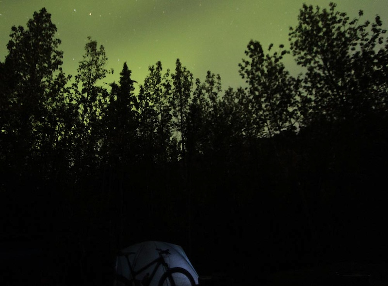 Day 3 of our trip. Aurora at Engineer Creek campground at the foot of Sapper Hill