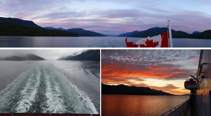 We started our 9000km road trip all the way from Vancouver to the Northern Yukon and back to Vancouver by taking the Inside Passage ferry from Northern Vancouver Island Port Hardy to Prince Rupert. We got lucky with some fantastic weather and light shows at sunset