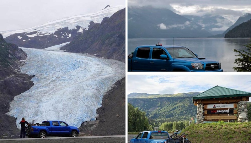 Our 9000km road trip continued as we drove the Stewart - Cassiar Highway from Kitwanga northwards. Bear Glacier in Stewart the mighty Skeena river and the Bell2 Lodge in the middle of nowhere