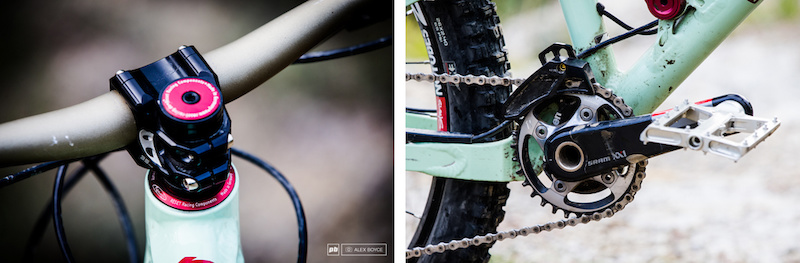i gt Clockwise from the top right i gt The Rock Shox Reverb remote this is a small detail but one that lets you know that whoever specced this bike knew what they were doing The big soft rubber signals this bikes intentions XX1 is always welcome on the drivetrain and is especially useful on a DH-oriented bike like this as that extra gear makes the climbing more manageable.