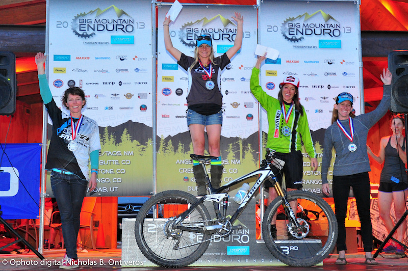 Pro Women Podium for North American Enduro Tour. Heather Irmiger Rosara Joseph Krista Park Kelli Emmett Margaret Gregory.