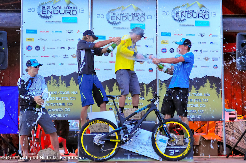 Champagne time for BME Overall Pro Men podium.