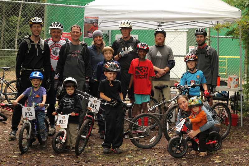 IMBA s Take a kid Mt biking Day Anacortes Community Forest Lands. IMBA provided juice cookies and number plates for all the crew of little shredders. All ages here from 3-55.