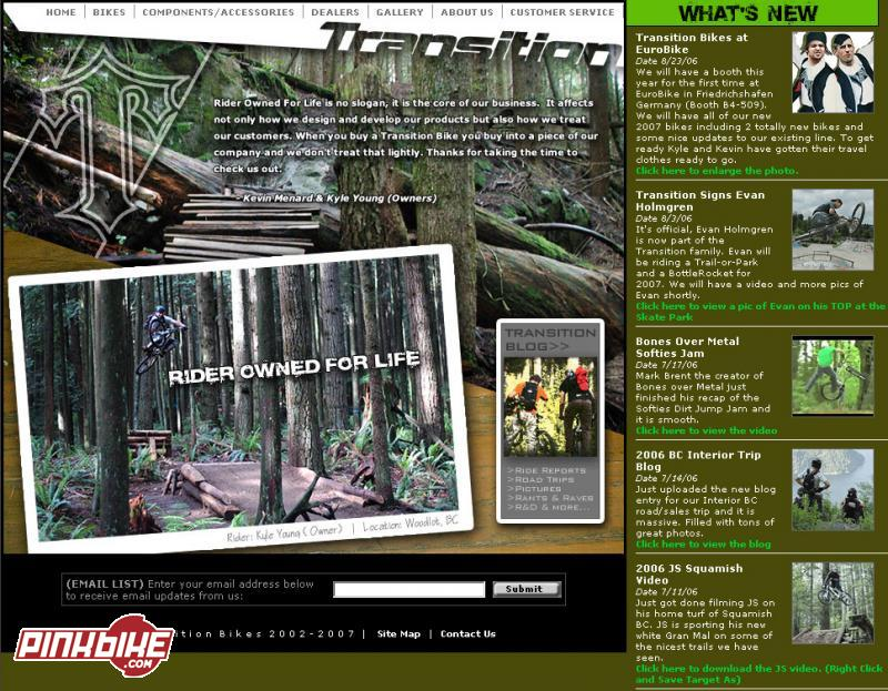 Transition Bikes Launches 2007 Website - Pinkbike