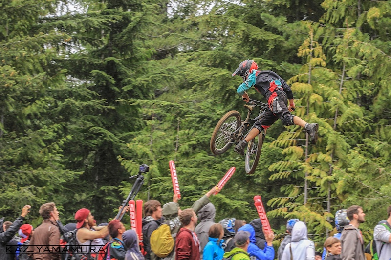 Dylan Sherrard Nac ing over the crowd at the whip-offs