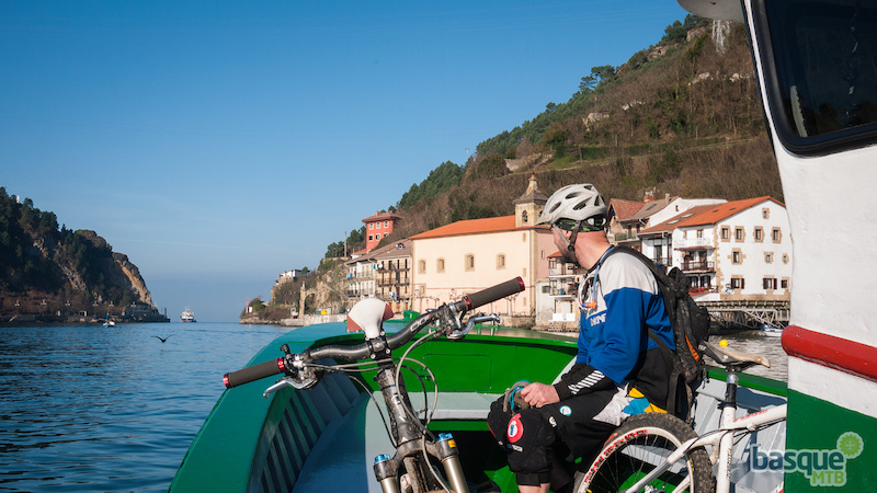 Getting a little help from the boat on the Basque Coast.