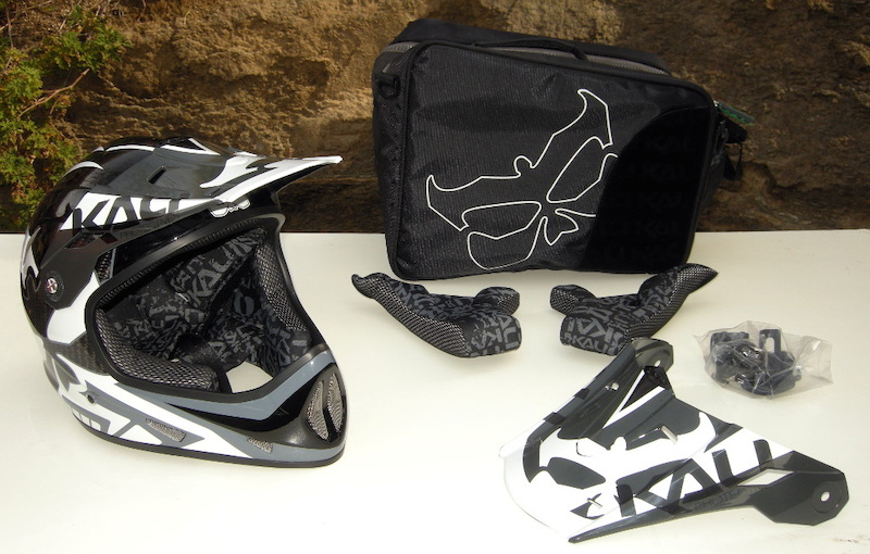 Kali Avatar II carbon fiber DH Helmet 2013 carry bag spare cheek pads camera mounts and spare visor