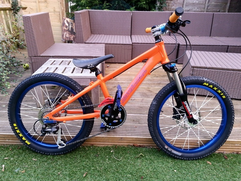 Custom bike that I built for my sons 6th birthday. Air fork, Deore hydraulic discs, folding maxxis snypers, 1x8 etc.
