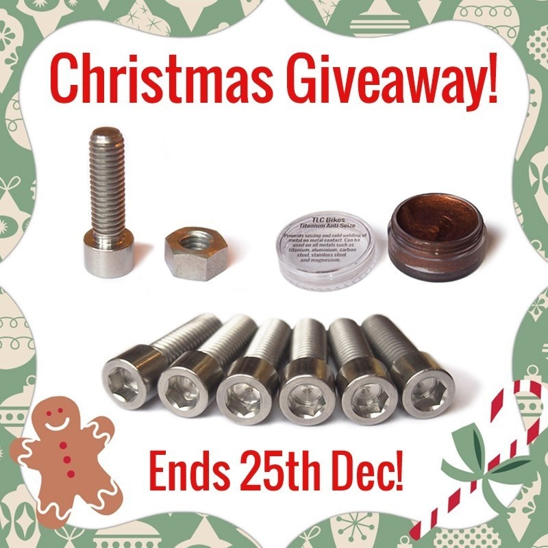 This Christmas TLC Bikes are giving away a small titanium package for free! It includes a set of 6 Titanium Stem Bolts, a Ti Seat Clamp Bolt with Titanium Nut, a bundle of stickers and a pot of  Ti-Prep. Visit @tlcbikes on instagram or visit www.tlcbikes.com to find out how you can win. A winner will be picked at random on Christmas Day!