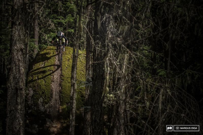 Katrina Strand drops in on The Green Monster in Whistler BC. Not in the bike park.