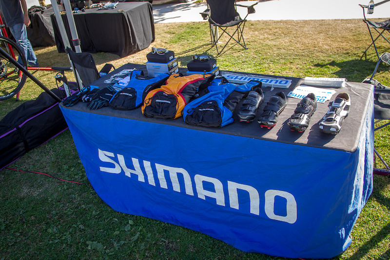 Shimano goodies on display .. Hydration packs and optics are new products that Shimano is now offering.