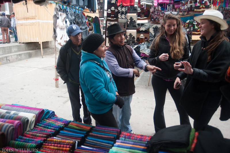 Nothing like a good market bargain session. Katie getting decked out in some Ecuador duds