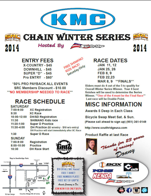 TCMtb Racing returns to Southridge Park in Fontana this weekend for the 2nd round of the 2014 Southridge USA Winter Series. Come say hi we will have a team pit area in the field area where the campers park . Just look for the team banner.