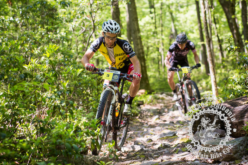 2013 NoTubes Trans-Sylvania Epic men s winner Justin Lindine leads Sam Koerber on some rocky singletrack.