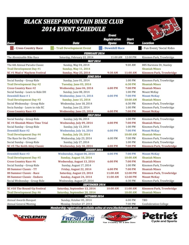 2014 Black Sheep Season Schedule blacksheepmtb.com